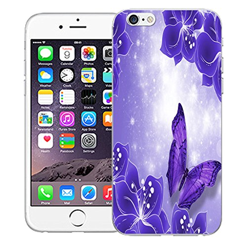 """Mobile Case Mate iPhone 6S Plus 5.5"""" Silicone Coque couverture case cover Pare-chocs + STYLET - Magical Butterfly pattern (SILICON)"""