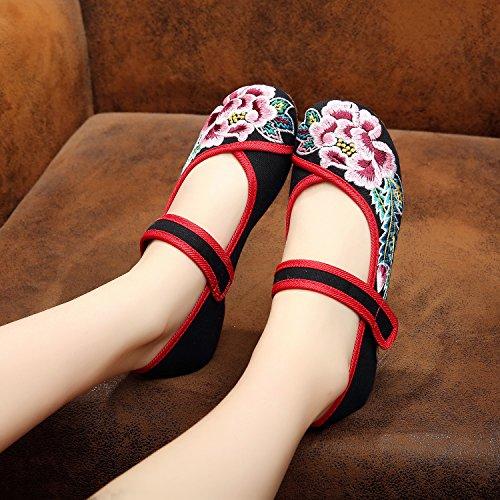 WHH Zapatos bordados, lino, lenguado de tendón, estilo étnico, zapatos femeninos, moda, cómodos zapatos de baile Black