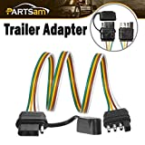 Partsam Trailer Wire Extension Plug, 4 Pin Hitch Light Trailer Wiring Harness Extender with Rubber Cab for LED Brake Tailgate Light Bar, 32\