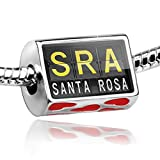 Bead with Hearts SRA Airport Code for Santa Rosa - Charm Fit All European Brace