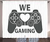 Lunarable Gamer Curtains, We Love Gaming Quote Greyscale Controller Design with Heart in The Middle, Living Room Bedroom Window Drapes 2 Panel Set, 108 W X 84 L inches, Charcoal Grey White