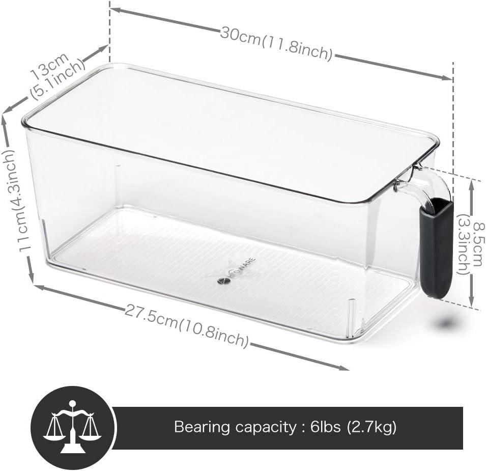 Nevera Despensa Armario 6 Pcs Cajas de Almacenaje con Asa para uso Frigorifico Ba/ño Grande Transparente y Gris EZOWare Organizador Frigorifico y Cocina Estantes
