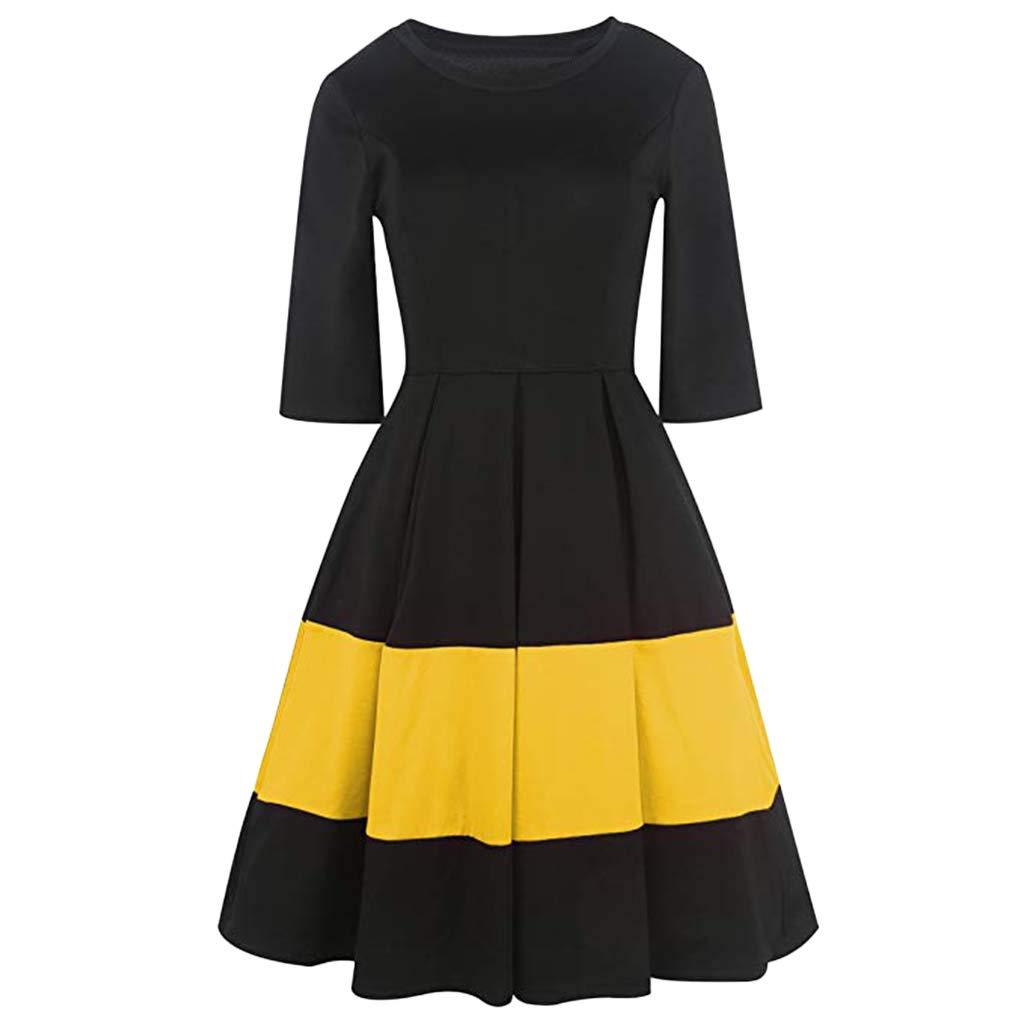 Ximandi Women's Round Neck Short Sleeve Patchwork A-line Dresses Casual Puffy Midi Dresses Yellow