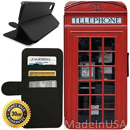 Flip Wallet Case for iPhone X/10 (Red Telephone Booth Best Of London) with Adjustable Stand and 3 Card Holders | Shock Protection | Lightweight | Includes Free Stylus Pen by Innosub