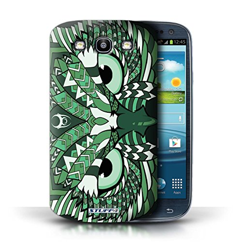 Etui / Coque pour Samsung Galaxy S3/SIII / Hibou-Vert conception / Collection de Motif Animaux Aztec