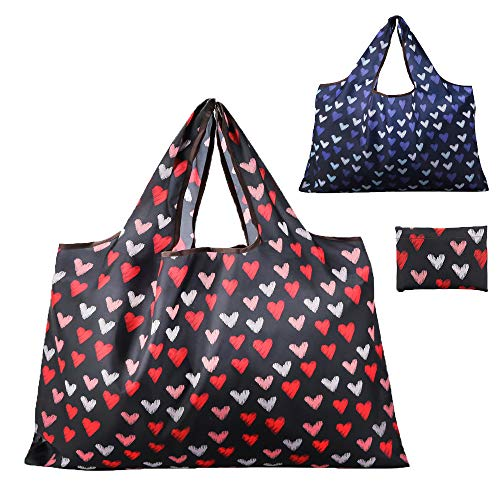 Reusable Grocery Bag, Gophra 2 Packs Large Washable Foldable Eco Friendly Nylon Heavy Duty Fits in Pocket Shopping Tote Bag (2018 Heart) (Heart Tote Bag)