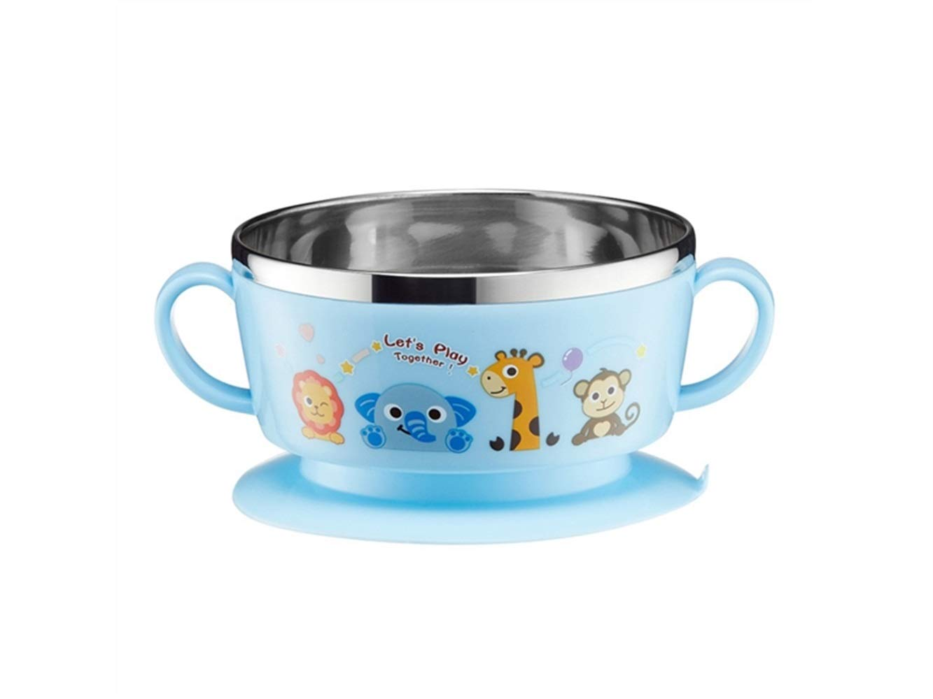Yuchoi Contemporary Animal Pattern Baby Feeding Bowl Anti-Scald Stainless Steel Children Dish Insulation Bowl with Lid and Double Handles for Kids Students(Blue) by Yuchoi (Image #1)