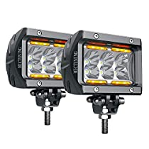 LED Pods MICTUNING K1 2Pcs 4 Inch 18W Cree Chip Led Light Bar Off Road Driving Work Light, Spot Beam, 1620lm with Amber Marker Light, 2 Years Warranty