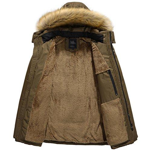 Coat Zhiyuanan Calda Imbottita Inverno Cappuccio Parka Spessa Padded Uomo Giacca Lungo Outwear Cappotto Casuale Cachi Pelliccia Con OxOFr