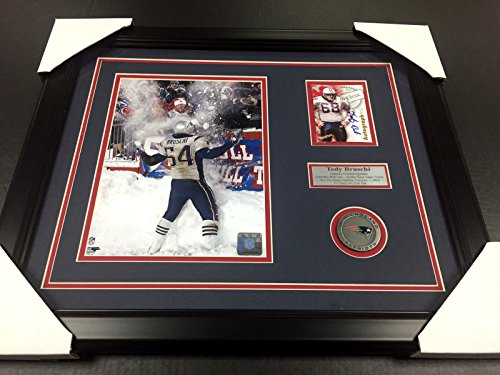 (Tedy Bruschi Snow Game Autographed Card NEW ENGLAND PATRIOTS 8x10 PHOTO FRAMED )