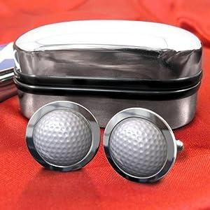 Golfball Herren Mannschettenknöpfe mit Chrom Geschenkkarton