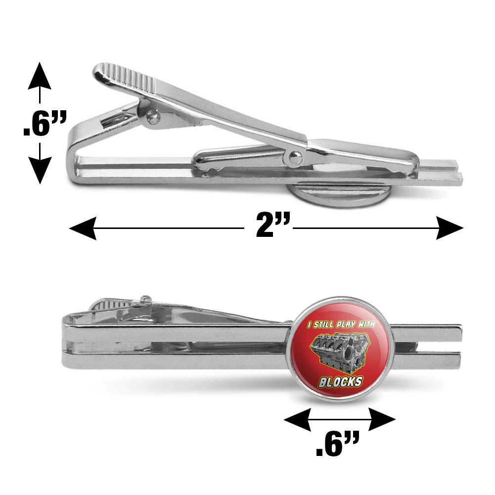 GRAPHICS /& MORE I Still Play with Blocks Auto Mechanic Round Tie Bar Clip Clasp Tack Silver
