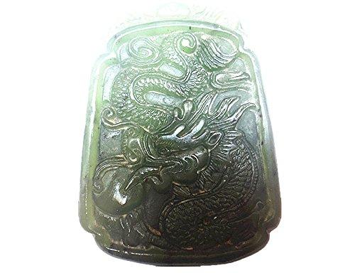 Natural nephrite jade old chinese dragon pendant good luck jade dragon charm -