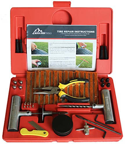 Seal Atv Motorcycle (Boulder Tools Heavy Duty Tire Repair Kit - 56 Pc Set For Motorcycle, ATV, Jeep, Truck, Tractor Flat Tire Puncture)