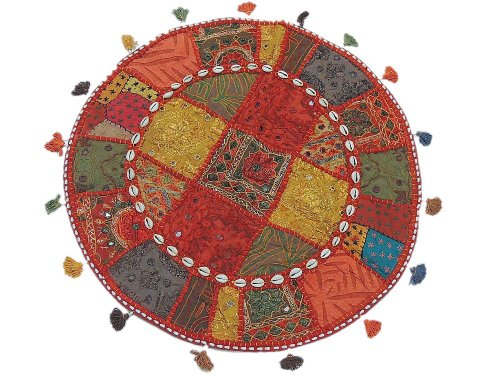 Bohemian Round Floor Cushion Cover - Patchwork Accent Seating Indian Lounge Pillow
