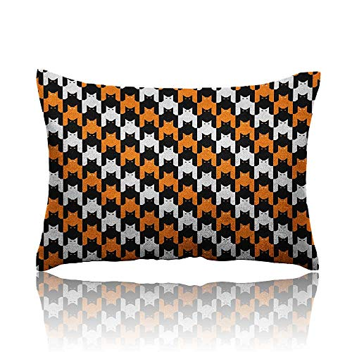 Anyangeight Halloween Throw Pillowcase Digital Style Catstooth Pattern Pixel Spooky Harvest Fashion Illustration Cold Pillowcase 13