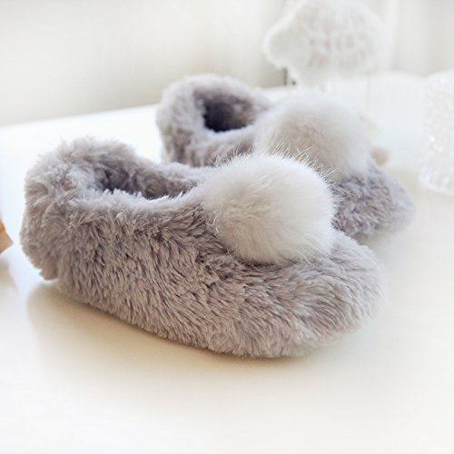 w Cozy Slippers Heels House Memory W Grey Fluffy Women's Plush Balls Foam Fleece 0CawxdOqn