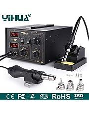 Mbuynow YIHUA Digital Lötstation 862D 730W, 2 in 1 SMD Lötstation Lötkolben Entlötstation Heißluft, SMD Rework Station Lötset mit 4 Heißluft Düse (862D)