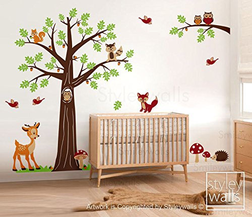 Woodland Animals and Tree Wall Decal for Nursery Decor, Forest Animals Bambi Deer Squirrels Owls and Raccoon Wall Decal Sticker
