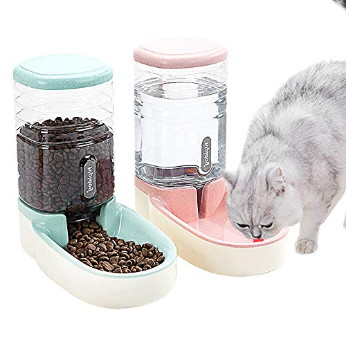 SLA-SHOP Pets Cats Dogs Automatic Waterer and Food Feeder 3.8 L with 1 Water Dispenser and 1 Pet Automatic Feeder (Pink and Green)