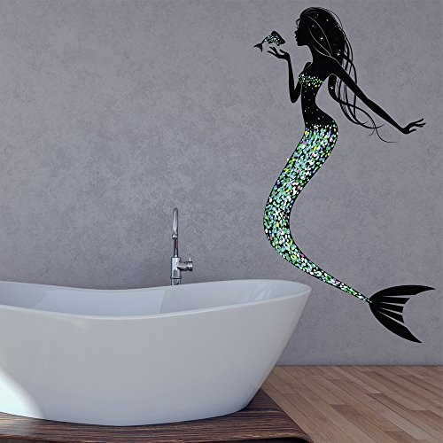azutura Mermaid Wall Sticker Fairy Tale Fantasy Wall Decal Girls Bedroom Nursery Decor available in 8 Sizes Large Digital