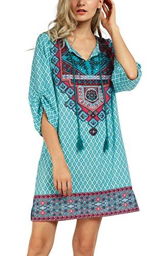 Women Bohemian Neck Tie Vintage Printed Ethnic Style Summer Shift Dress (2XL, Pattern 20)
