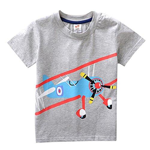 PENATE Baby Kid Boy Short Sleeve T-Shirt Casual Cartoon Soft Cotton Blouse 2-8T (Airplane, 2T) -
