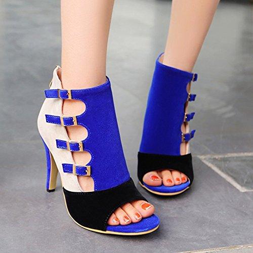 Verano Mujer Zapatos Ladies Vestido Hebilla Tacones amp; Heel Toe Primavera Noche Club Peep y de Zapatos Color Azul 34 Tamaño Office Stiletto Fiesta Career Fleece xIIwfq5rRO