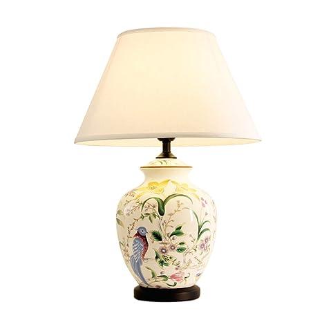 C-J-Xin Lámpara de Mesa de cerámica Pintada de Las Flores y ...