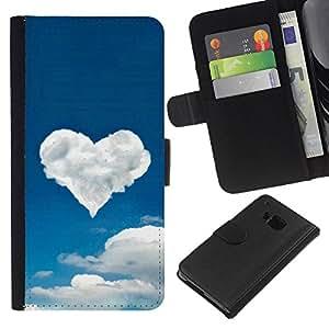 KingStore / Leather Etui en cuir / HTC One M9 / Corazón de la nube