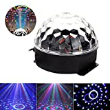 JUDYelc Crystal Ball Disco Mechanical Stage Lamp Sound Activated Strobe Effect 7-Pattern Rotating RGB LED Party Light Show for Wedding Shows Dance Floor Night Club DJ Flashing