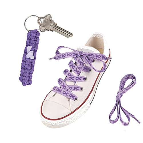 Support Alzheimer Awareness: Purple Ribbon Cotton Shoelaces and a Paracord Key Chain - Lot of 2 as Shown