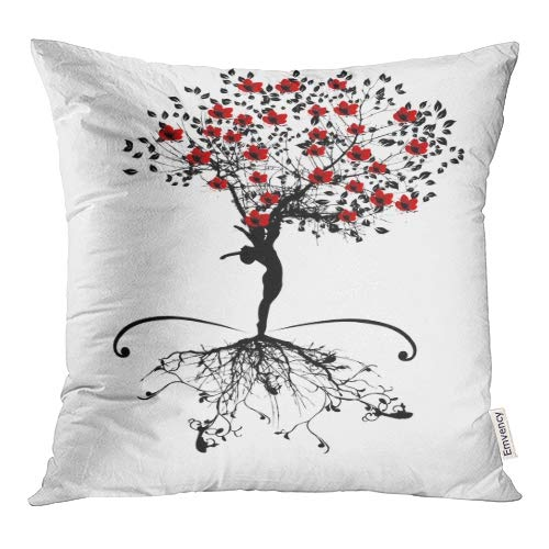 Emvency Decorative Throw Pillow Covers Red Woman Spring Tree Women Silhouette Root Willow Black Pillowcase Cushion Cover Case Protectors Sofa 18x18 Inches Double Sided ()