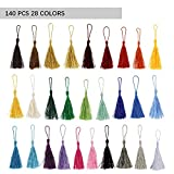 140 Pcs 13cm/5 Inch Silky Handmade Soft Craft Mini Tassels with Loops for Jewelry Making, DIY Projects, Bookmarks, 28 Colors, 5 Pcs of Each
