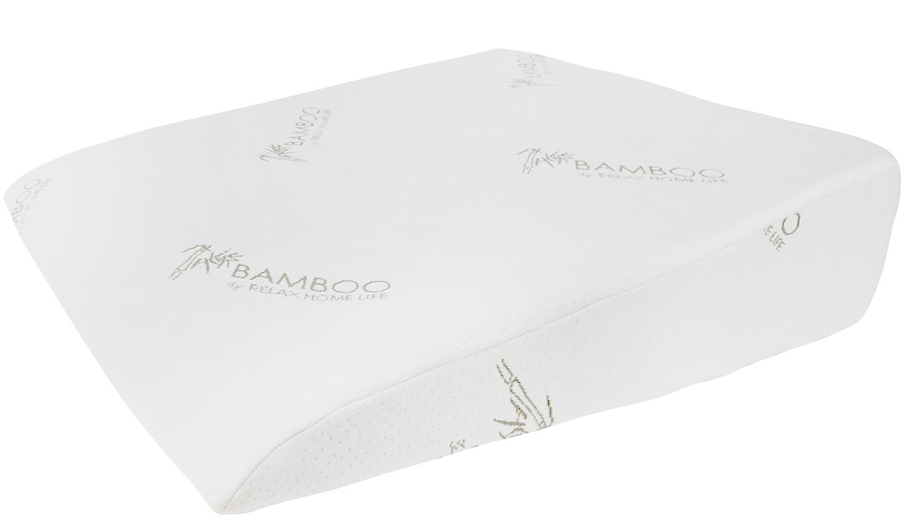 Relax Home Life - Foam Bed Wedge Bamboo Pillow With 1.5'' Memory Foam Topper and Stay Cool Removable Cover (30.5'' W X 33'' L x 7.5'' H)