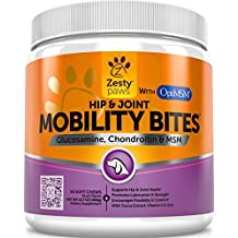Glucosamine HCL + Chondroitin Sulfate & OptiMSM - Hip & Joint Treats for Dogs with Arthritis Pain - Chewable Mobility Bites With All Natural Immune & Cardiovascular Support for Pets - 90 Soft Chews