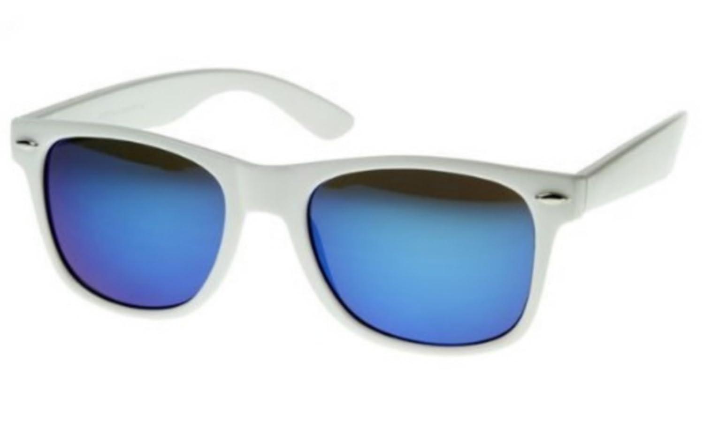 19302e60dbece5 Lunettes de Soleil Style Wayfarer - Geek Retro Vintage 80 s - Verres Effet  Miroir Revo - Fashion Tendance (Blanc Miroir Bleu)  Amazon.fr  Vêtements et  ...