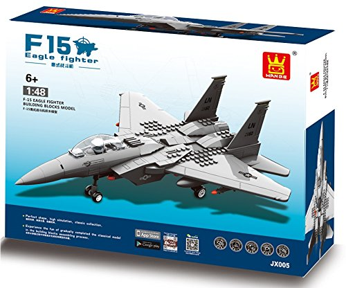 F-15 Eagle Army Fighter war Plane 270pcs building bricks - Air force Military destroyer Aircraft battle bomber Jet Vehicle - Building Blocks ,Great Gift for Children