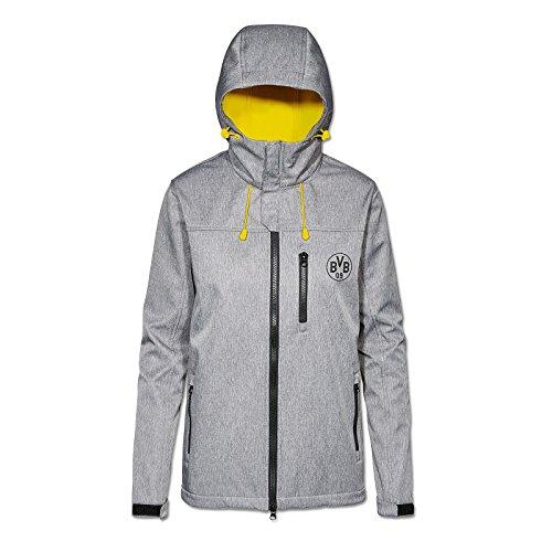 Borussia Dortmund Softshelljacke für Damen, Grau. Polyester, S-XXL, BVB-Emblem, Reißverschlusstaschen (grau (silbergrau))