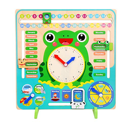- CHoppyWAVE Learning Educational Toys for Boys and Girls,Wooden Clock Calendar Weather Season Month Cognitive Board Kids Educational Toy