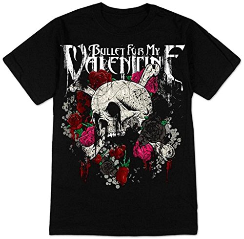 Krissry Mens Bullet for My Valentine - Skull and Roses Fashion T Shirt Black Medium