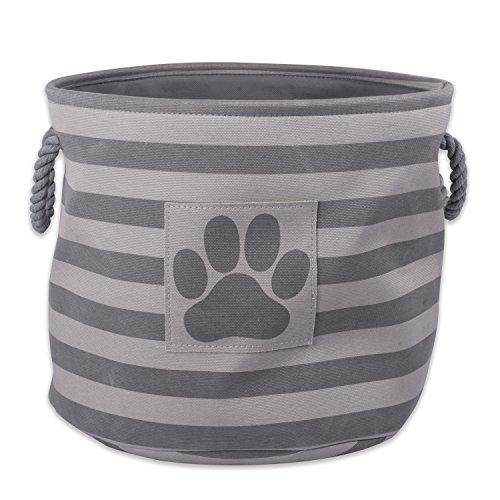 Bone Dry Striped Paw Patch Bin, Large Round, Gray