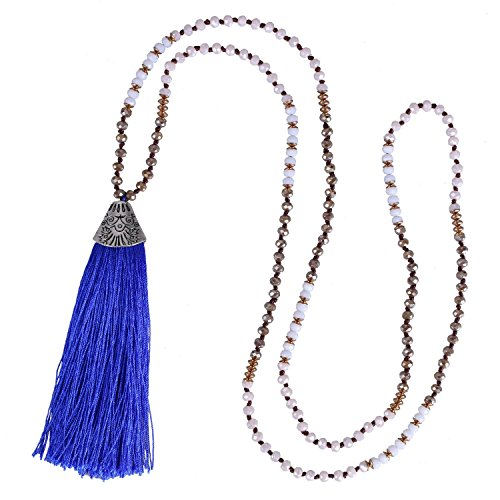 Beaded Necklace Fish (KELITCH Crystal Long Beaded Necklace Layering Fish Mouth Tassel Pendant Strand Necklace (Blue))