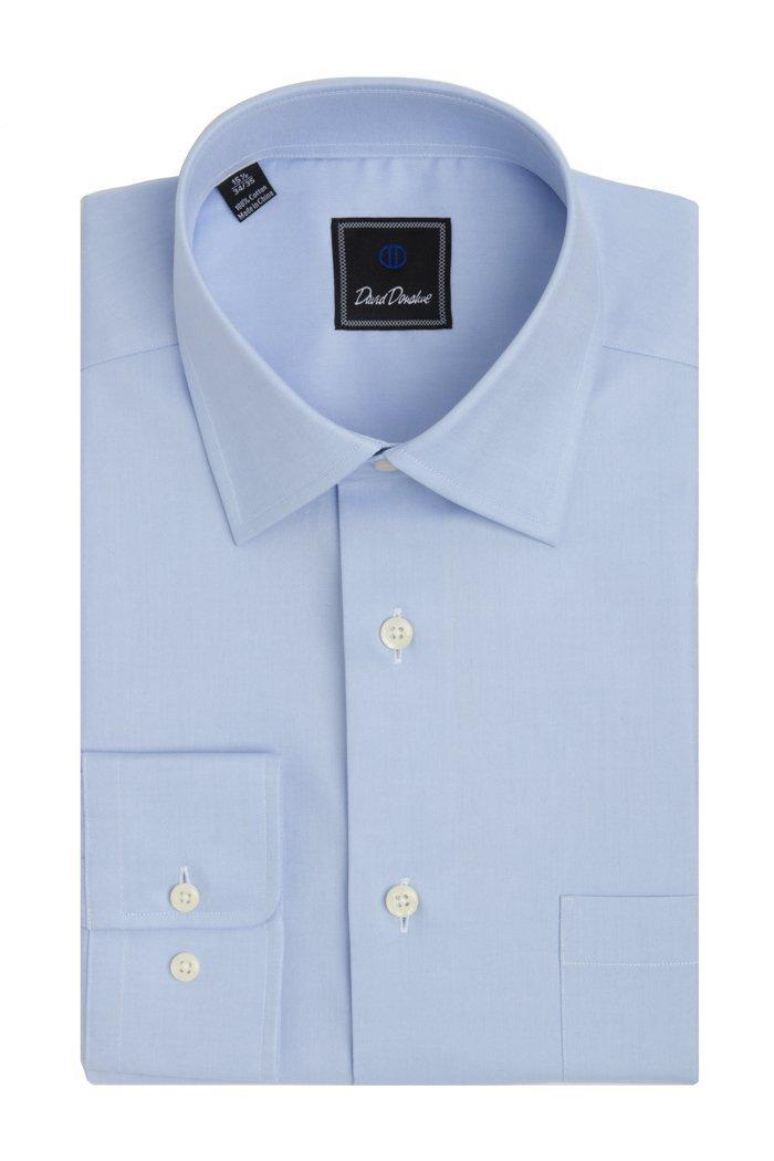 David Donahue Men's Super Fine Twill Regular Fit Dress Shirt 16.5 - 34/35 Blue