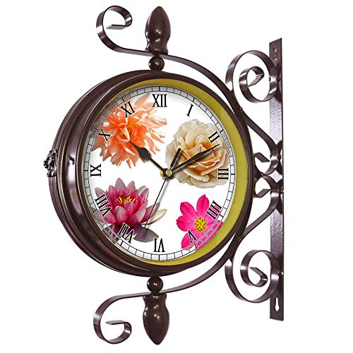 girlsight Wrought Iron Antique-Round Clock Wall Retro Station Chandelier Double Sided Wall Clock -360 Degree Quiet Grand Central Station Wall Clock439.Isolated Flower Clipart