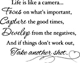 Life is like a camera Focus on what's important, capture the good times, Develop from the negatives, and if things don't work out, take another shot wall quotes sayings vinyl decal art