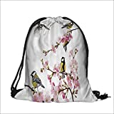 Pocket Drawstring Bag Group of Cute Humming Birds Flowering Branch Friends Peace Backpack