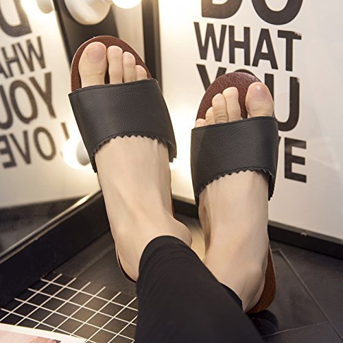 cool wooden 39 slippers slip Current Stay summer non 40 slippers female Room thick home Couples floors fankou soft black qHPxwIAaA