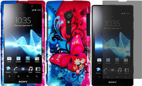 For Sony Ericsson Xperia Ion LT28i LT28at Hard Design Cover Case Butterfly Bliss+LCD Screen Protector