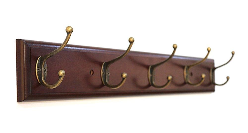 SW木製帽子/コートフックラック壁マウントジャケットタオル ブラウン B0766XKL49 ブラウン ブラウン